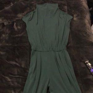 Dark Green Stretchy Waist Band Jumpsuit